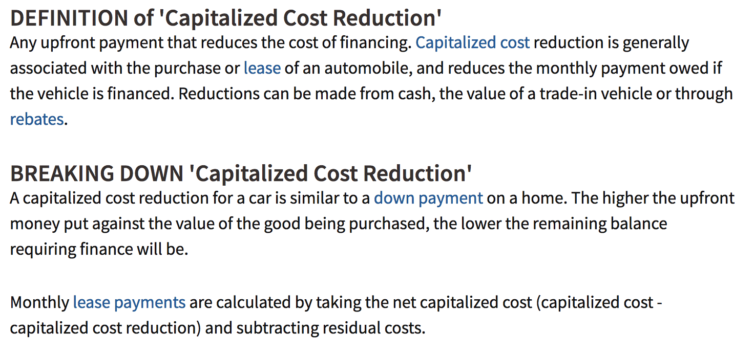 capitalize on the cap cost reduction